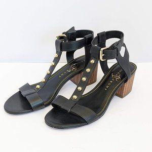 Ivanka Trump Black Leather Ankle Strap Sandal 8